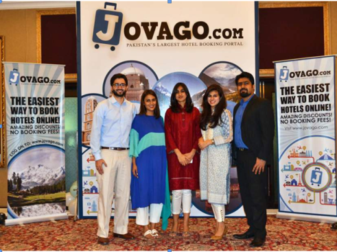 Rocket Internet AG, under its holding firm the Asia Pacific Internet Group, announced the launch of its hotel-booking platform, Jovago, in Pakistan. Picture shows Ms. Nadine Malik (center) Managing Director Jovago Pakistan along with other members of Jovago Pakistan at the launch event.